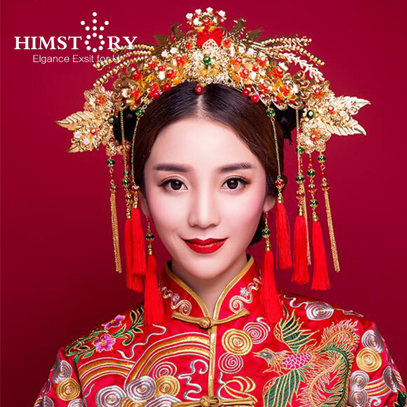 HIMSTORY Chinese Traditional Bridal Headdress Tassels Hairpin Women Girl Red Beads Flowers Fashion Headband Wedding Jewelry fascinator fashion bride headdress feathers dance show headdress covered the face veil party hat headdress hairpin headwear