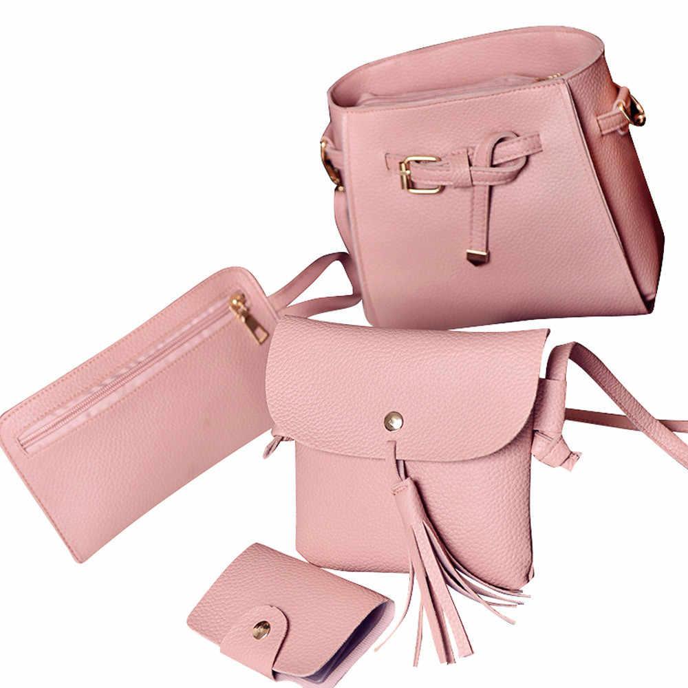 4 pçs/set Mulheres Moda Bolsas Bolsas de Ombro Bolsa Feminina de Couro PU Saco Do Mensageiro de Embreagem Mini Bolsa Pequena quatro peças Senhoras Tote6.65