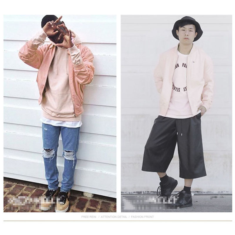Pink Jacket Men Hip Hop Loose Bomber Jacket Korean Fashion men and ...