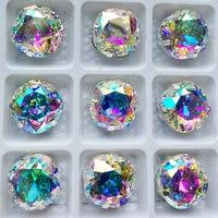 YANRUO 4470 쿠션 컷 8 10 12 18 미리메터 AB 크리스탈 돌 모조 다이아몬드 실버 자료 발톱 크리스탈 돌
