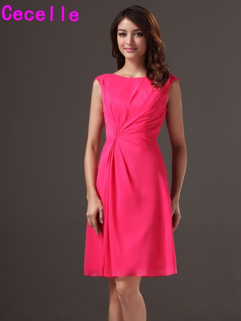 2019 Summer Women Short A-line Knee Length Fuchsia Bridesmaid Dresses Gowns  For Cheap Sleeveless Country Rustic Bridesmaid Robes f348230dbe68