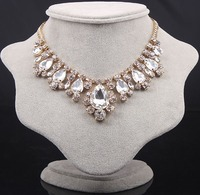 famous brand Baroque palace retro style dinner party luxury transparent simulated statement necklace short Women jewelry