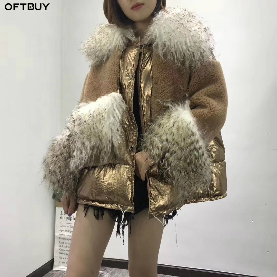 OFTBUY 2019 Real Fur Coat Duck Down Coat Winter Jacket Women Natural Mongolia Sheep Fur 100% Wool Fabric Parka Streetwear Warm