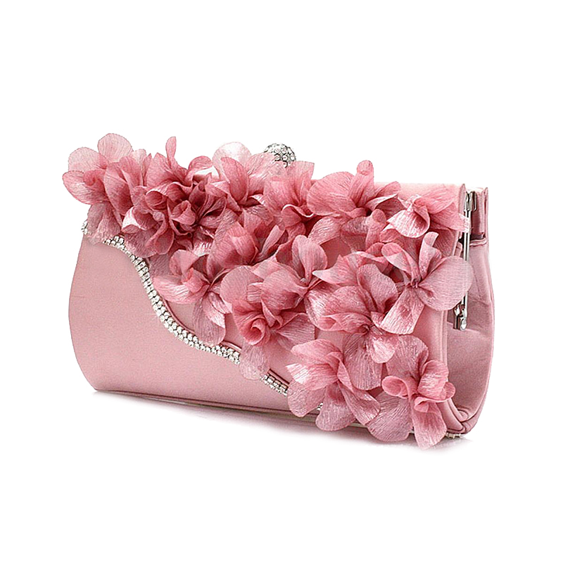 FGGS Hot Lady Satin Clutch Bag Flower Evening Party Wedding Purse Chain Shoulder Handbag 5 Colors