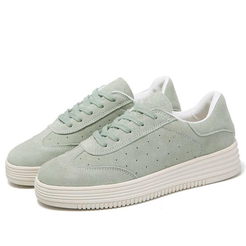 Wiosna nowy damskie buty płaskie platformy buty w stylu casual skóra kobiet mody klasyczne białe płócienne buty wzrosła dziewczyny Plus rozmiar