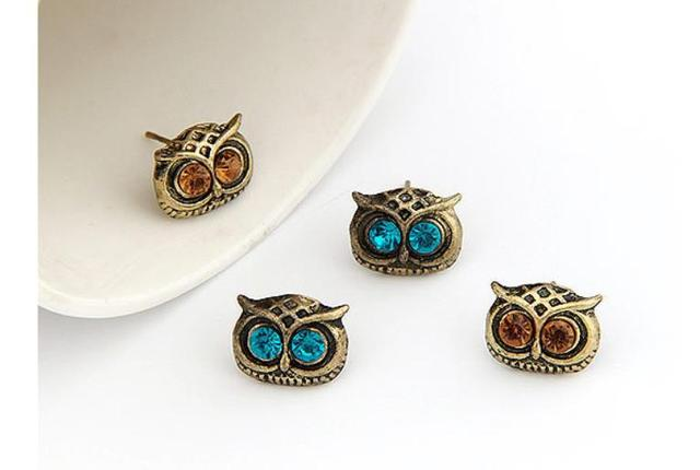 Bijoux Vintage Big Eye Owl Crystal Stud Earrings