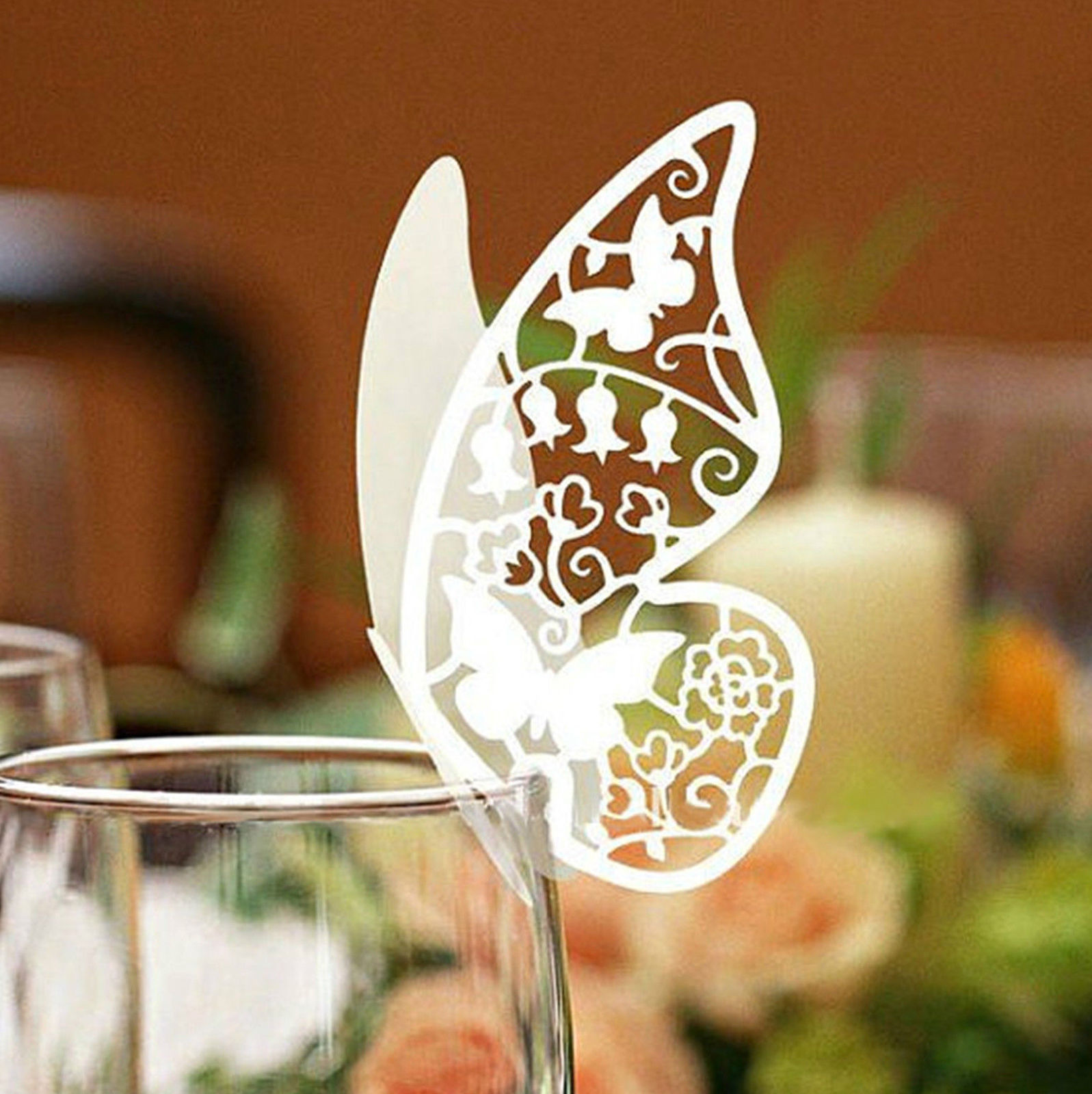 Butterfly Place Escort Wine Glass Cup Paper Card Wedding Party Home Decor 50 Pcs China