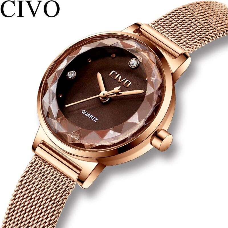 Fashion Crystal Lady Watches CIVO 2018 Luxury Brand Women Dress Watch Waterproof Rose Gold Quartz Wrist Watches Relogio Feminino