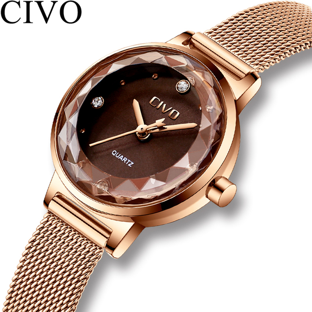 Fashion Crystal Lady Watches CIVO 2018 Luxury Brand Women Dress Watch Waterproof