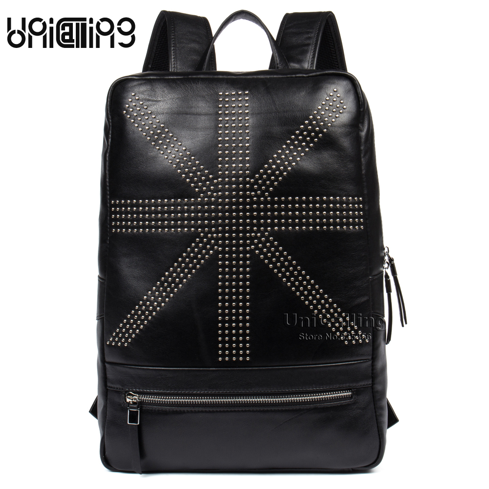 UniCalling men backpack genuine leather fashion male leather backpack men laptop backpack real leather fashion rivets men backpack leather fashion real cow leather backpack for men leisure men genuine leather 14 laptop backpack safe back zipper