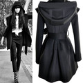 Европейской и Американской моды Панк Готический Капюшоном Повязки Ветровка пальто черный Бежевый цвет женщины Тонкий sexy топ Досуг пальто