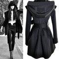 Gótica Punky de la manera de europa y América Con Capucha Vendaje Cazadora escudo negro Beige color de la mujer Delgada sexy top Ocio abrigo