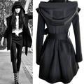 Moda europeus e Americanos Do Punk Gótico Com Capuz casaco Corta-vento Bandagem preto Bege cor mulher sexy top Fino casaco de Lazer