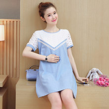 018ab3566558a Pengpious hollow out lace patchwork denim dress for breastfeeding summer  fashion nursing clothes postpartum Lactation shirts