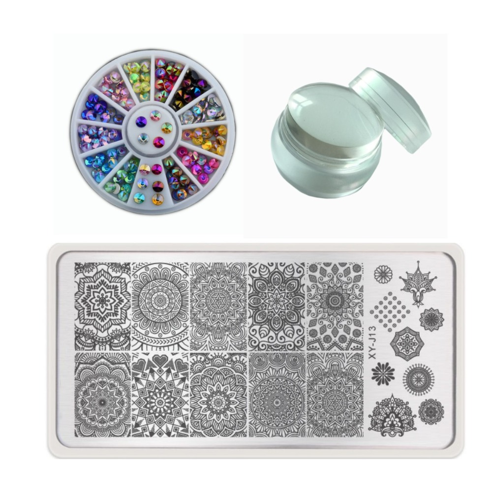 Nail Art 3pcs/set Nail Art Templates+3.5cm Cute Jelly Nail Stamper Scraper With Cap+colorful 3d Nails Rhinestones Sticker Diy Beauty Tool High Quality