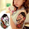 Lobo Sexy E Beleza Menina 3D À Prova D' Água Maquiagem Stencils Tatuagem Temporária Adesivos Body Art Beleza Exótica Para Tatuagens Falsas Mulheres