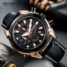 MEGIR Mens Fashion Sports Quartz Watches Leather Waterproof Luminous Chronograph Wristwatch Clock Relogios Masculino 2065 Rose