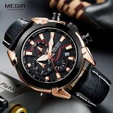 MEGIR גברים של אופנה ספורט קוורץ שעונים עור עמיד למים זוהר הכרונוגרף שעוני יד שעון Relogios Masculino 2065 עלה