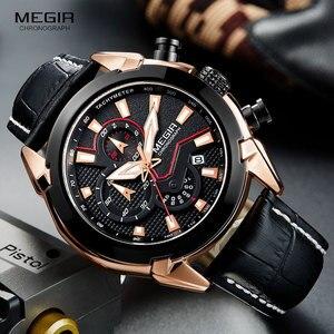 Image 1 - MEGIR גברים של אופנה ספורט קוורץ שעונים עור עמיד למים זוהר הכרונוגרף שעוני יד שעון Relogios Masculino 2065 עלה