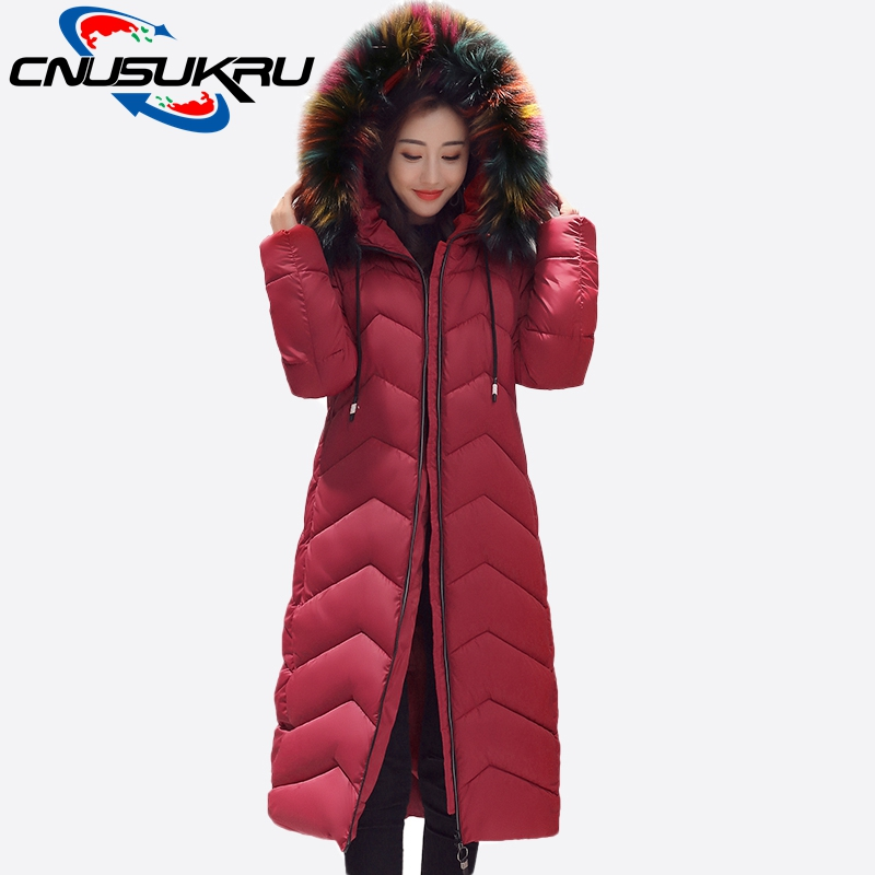 2017 New Arrivals Fake Raccoon Fur Collar Coats For Winter Jacket Woman Long Parka Warm Down Cotton Faux Fur Coat Hooded Outwear 2017 winter new clothes to overcome the coat of women in the long reed rabbit hair fur fur coat fox raccoon fur collar