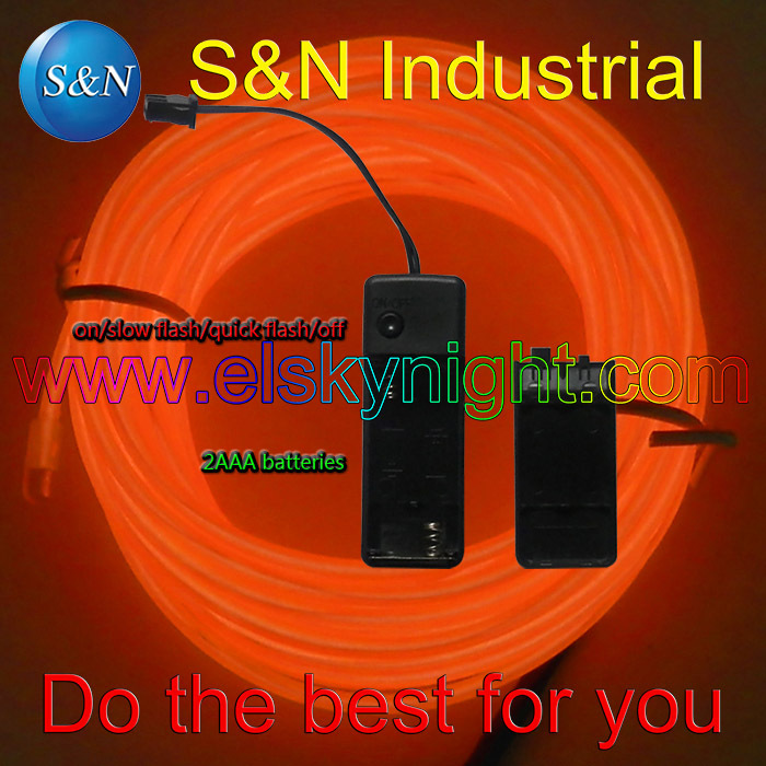 3M Orange Flexible  Diameter 2.3MM EL Wire  2AAA Mini El Inverter  For Holiday Decoration Creative Usage Free Shipping