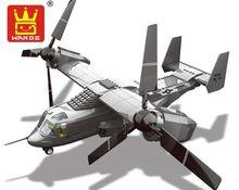 593 PCS O V22 Osprey Tiltrotor Assentos Duplos Helicóptero Modelo de Aeronave Militar Clássico Piloto Figuras Bloco Tijolos Brinquedos JX006