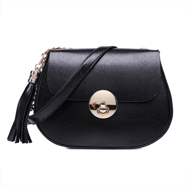 2016 ladies women fashion PU leather metal lock shoulder bag crossbody bags  Lichee Pattern black grey saddle bag acd05bc05db59