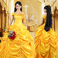 New 2017 Women Halloween Cosplay Fantasia Southern Beauty And The Beast Adult Princess Belle Costume Dress