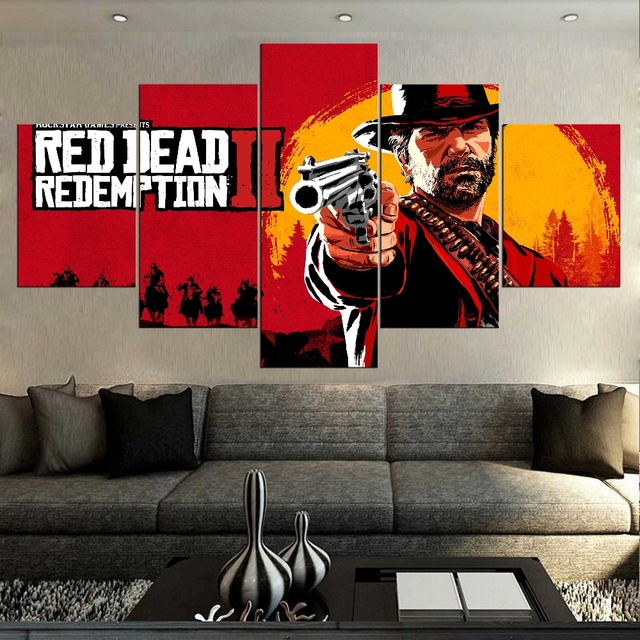 5 Pieces Canvas Art Red Dead Redemption 2 Western Action