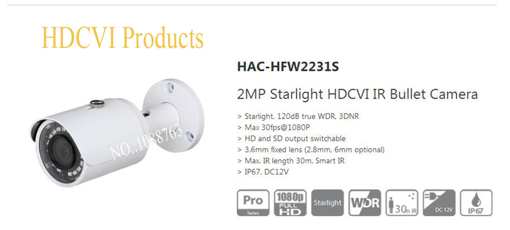 Free Shipping DAHUA 2MPHDCVI IR Bullet Starlight Camera without Logo HAC-HFW2231S
