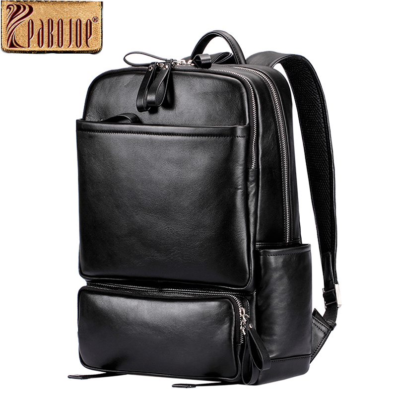 Pabojoe Women Mens School Backpack Italian 100% Genuine Leather Fashion Book Bag College Daypack Black Fit 15inch Laptop men original leather fashion travel university college school book bag designer male backpack daypack student laptop bag 9950