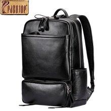Pabojoe Women Mens School Backpack Italian 100% Genuine Leather Fashion Book Bag College Daypack Black Fit 15inch Laptop