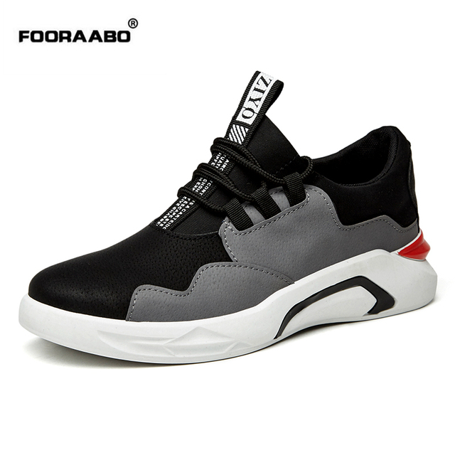 Fooraabo 2018 Spring New Low Mens Trainers Casual Shoes Student Black White  Shoes For Man Fashion