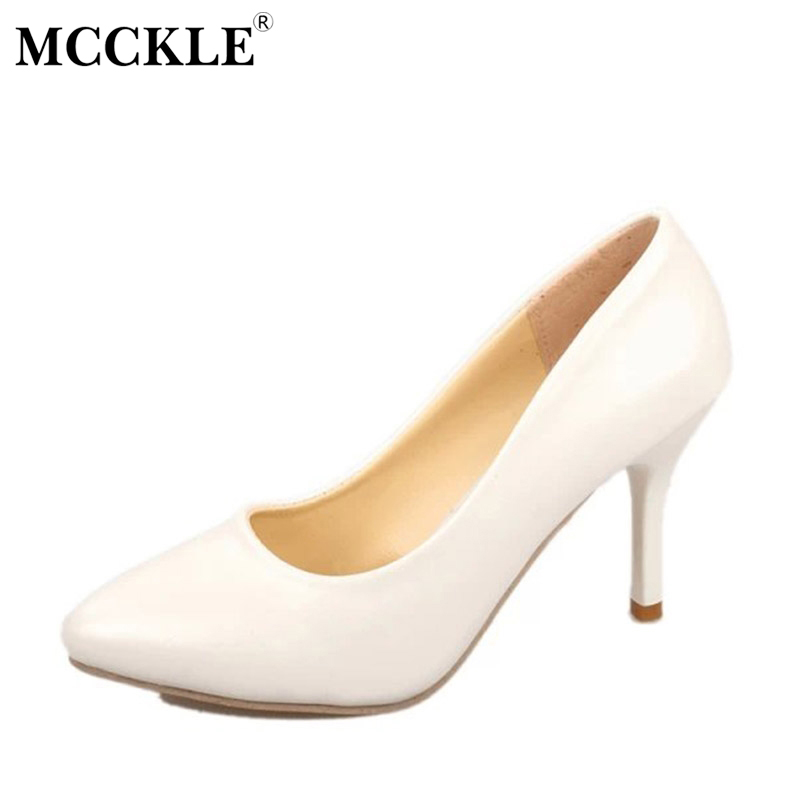 MCCKLE 2017 Fashion Women Shoes High Heels Woman Pointed Toe Ladies Office Black Pumps Comfortable Sexy Plus Size 35-43 comfy women pointed toe square high heels office shoes woman flock ladies pumps plus size 34 40 black grey high quality