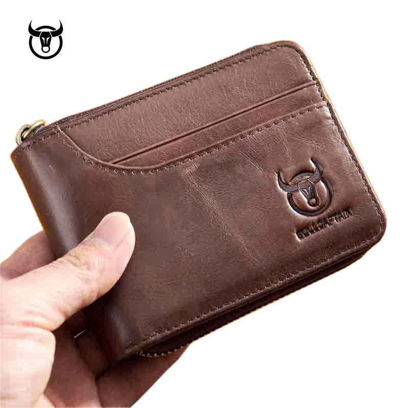 Brand Genuine Leather Men Wallets Short Coin Purse Small Retro Wallet Cowhide Leather Card Holder Pocket Purse Men Wallets
