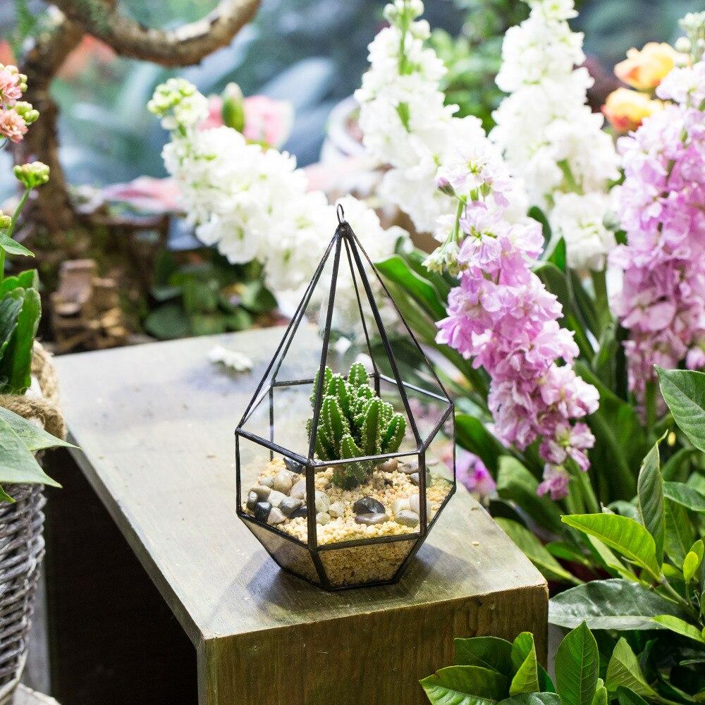 Succulent Plant Planter Decor Hanging Indoor Hanging Geometric Diamond Terrarium glass jar