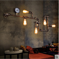 Fashion Wroguht Iron Water Pipe Wall Lamp Vintage Aisle Lights Loft Iron Wall Lamp Edison Incandescent