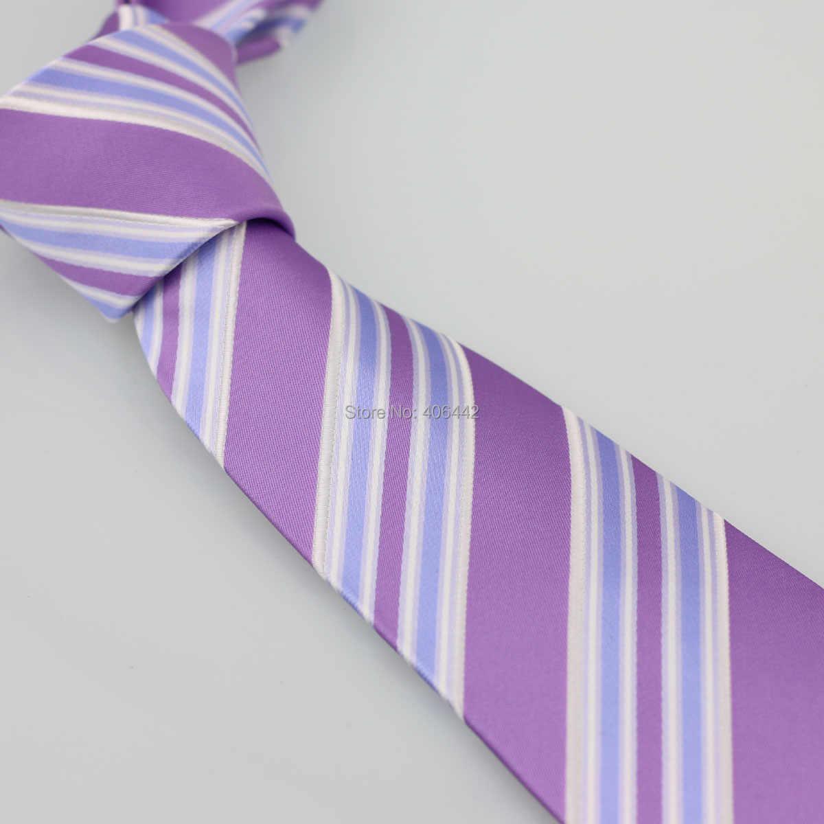 Coachella pria Ungu Dengan Biru Putih Diagonal Stripes Jacquard Woven Dasi Formal Neck Tie untuk pria berpakaian kemeja pernikahan