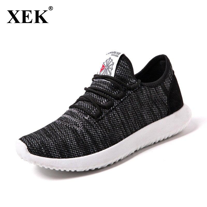 XEK 2018 Air Mesh Fabric Running Sneakers For Men Sports Shoes For Men Walking Yeezys Men Light Shoes Outdoor Trainers Soft JH47