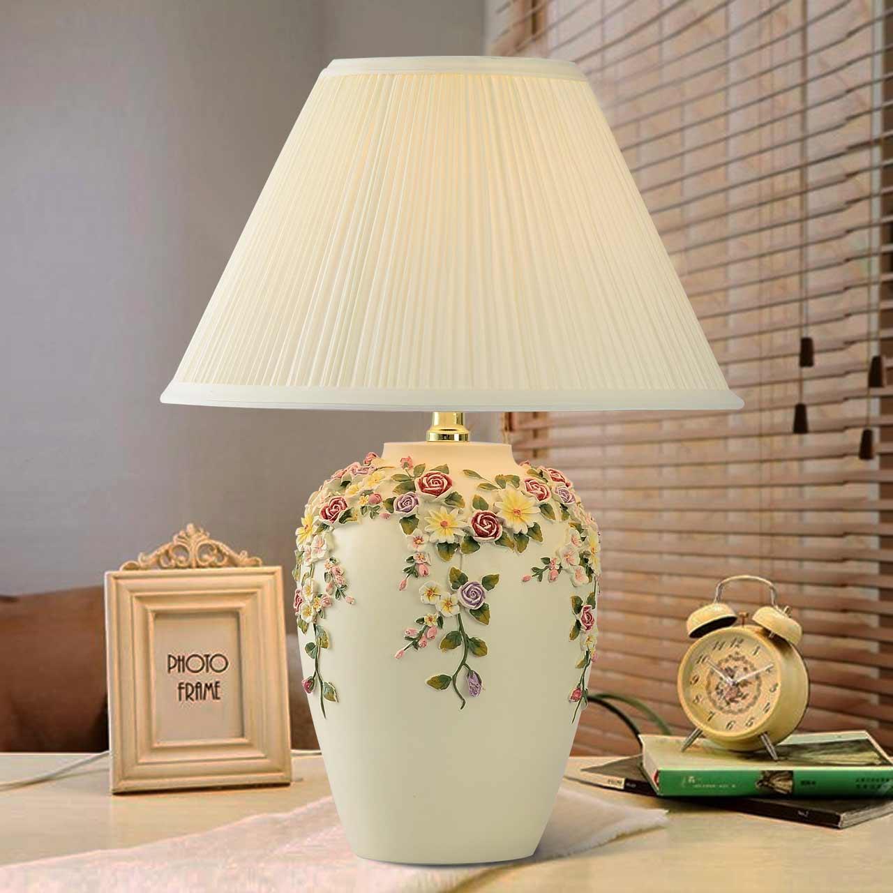 Modern Pastoral Hand Carved Resin Flowers Table Lamp For Living Room Bedroom Wedding Romantic Desk Light Ac 80 265v 1077 in LED Table Lamps from Lights Lighting