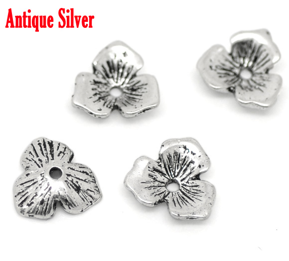 Beads-Caps Alloy Four-Leaf Metal Antique Silver Clover 11mm-X-10mm Zinc Fits-14mm-20mm-Beads