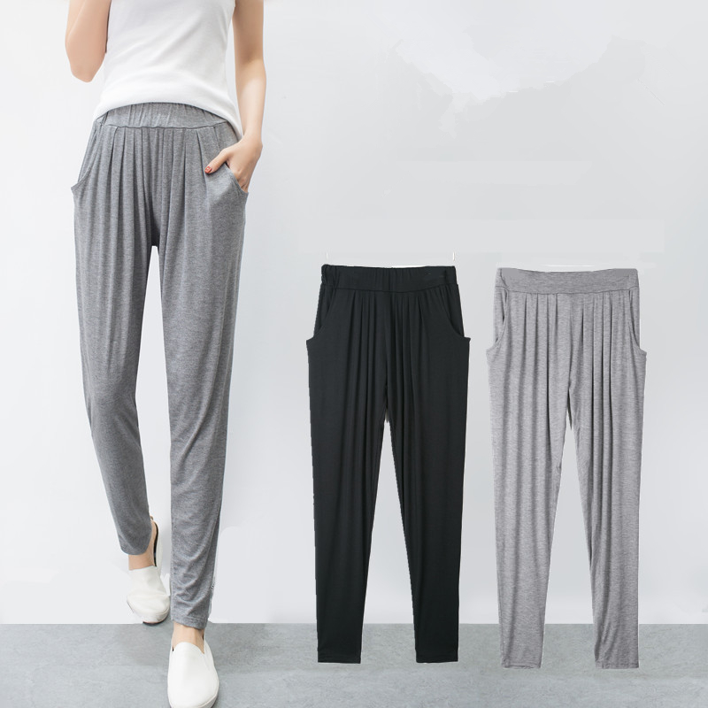 Spring Summer New Fitness Long Pants Female Leisure Soft Trousers For Women Elastic Waist Solid Casual Harem Pants Woman D162
