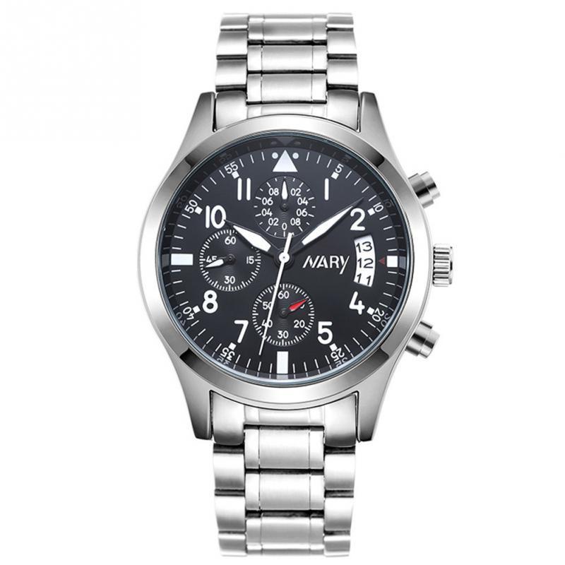 NARY Trendy Man Calendar Waterproof Analog Display Quartz Steel Strap Wrist Watch kaladia 8911 pu strap analog quartz sport wrist watch for man