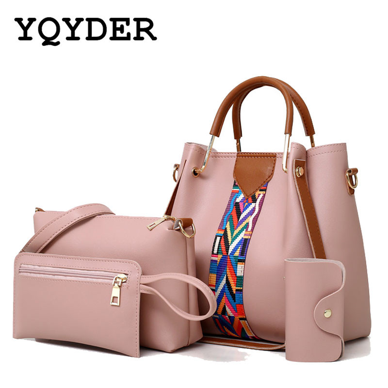 Fashion 4 Pcs/Set Ribbons Women Bag High Quality PU Leather Shoulder Crossbody Bags Large Capacity Casual Tote Composite Bag women bag set high quality tote bag