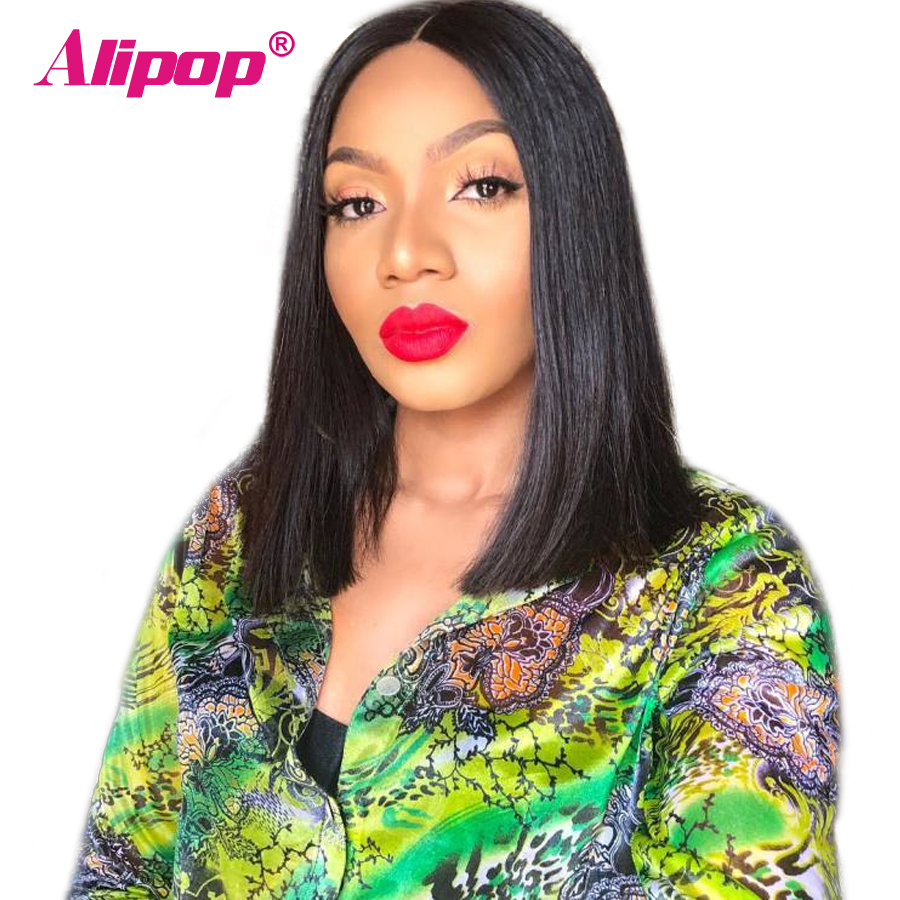 Alipop Hair Short 360 Lace Frontal Wigs With Baby Hair Pre Plucked Brazilian Remy Human Hair
