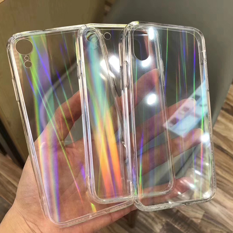 Fashion Gradient Transparent Rainbow Laser Case for iPhone 10 X XS Max Xr Hard Capa Fundas for iPhone 8 7 6 6S Plus Acrylic Case in Fitted Cases from Cellphones Telecommunications