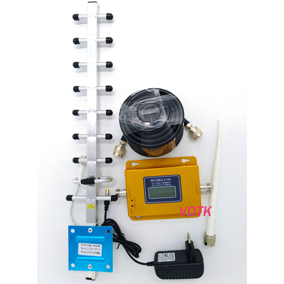 VOTK 70dbi 3G Signal Booster! Mobile 3g Signal Repeater 2100mhz UTMS Signal Amplifier WCDMA Signal Booster LCD Display