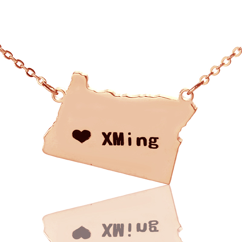 State Necklaces Personalized America DIY State Of Pendant Charm Necklace Custom Rose Gold Color Oregon Map Necklace