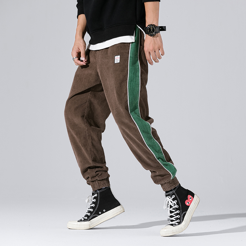 Big Pocket Corduroy Pants Men Regular Streetwear Jogger Pants Letter Thick Straight Pants Y1066