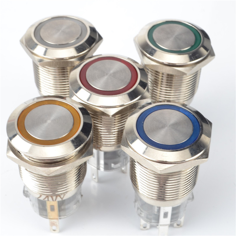 19mm Momentary Push Button Metal Switch  Flush Extended Button